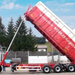 Semitrailer with dumper, lightweight structure for swap containers – train shipment